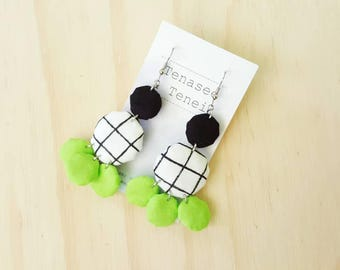 Handpainted Grid Check Fabric Yoyo Statement Dangle Earrings Pop Lime Green
