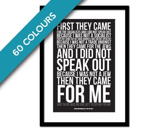 First They Came, Then They Came For Me Art Print - Martin Niemöller - Holocaust Poem - Racism Civil Human Rights - Immigration Refugee Ban