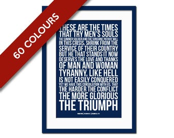 Thomas Paine Quote Art Print - Political Speech - Activism - American History - Revolution Art - Protest Poster - Rise Up - The Resistance