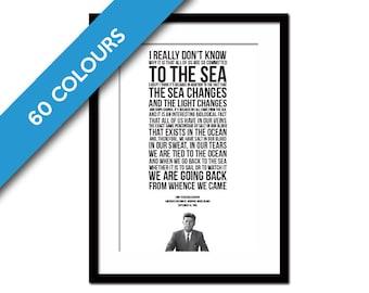 John Fitzgerald Kennedy Ocean Speech - JFK Poster - Presidential Speech - America's Cup Poster - Sailing Art Print - Beach Art Decor