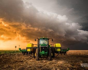 Tractor Photography, Tractor Print, Kansas Farm Photo, Tractor Art, Storm Tractor, Golden Storm, Landscape Storm, Tractor Wall Art, Print