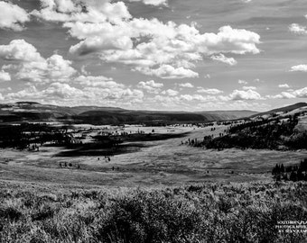 Yellowstone Print, Yellowstone Nature, Black-And-White Print, Rocky Mountains,  Western Sky, Mountain Scenery, Wyoming, Hayden Valley