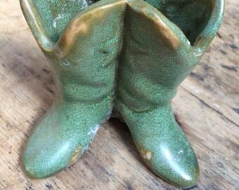 Vintage Green Ceramic Cowboy Boots Vase/Planter