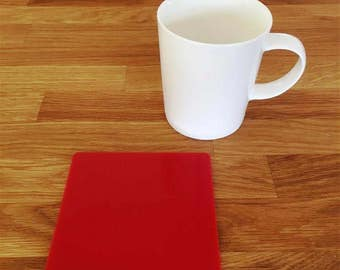 Square Red Gloss Finish Acrylic Coasters
