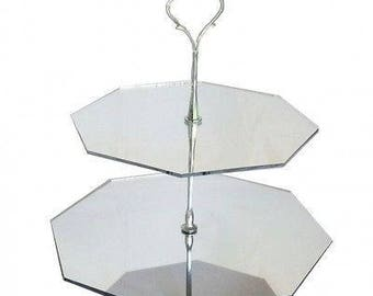 Octagon Shaped Two Tier Silver Rod Acrylic Cup Cake / High Tea Cake Stand - In Various Sizes and Colours