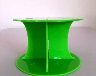 """Plain Round Lime Green Gloss Acrylic Cake Pillars / Cake Separators, for Wedding / Party Cakes 10cm 4"""" High, Size 6"""" 7"""" 8"""" 9"""" 10"""" 11"""" 12"""""""