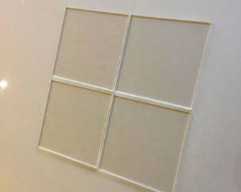 "Clear Transparent Gloss Acrylic Square Crafting Mosaic & Wall Tiles, Sizes: 1cm to 20cm - 1"" to 7.9"""