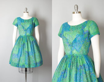 Vintage 1950s Dress   50s Floral Cotton Voile Green Blue Full Skirt Day Dress (small)