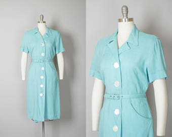 Vintage 1940s Dress | 40s Blue Linen Cotton Shirtwaist Wiggle Day Dress with Pockets (medium/large)