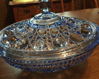 Icy Blue Indiana Glass Windsor Covered Glass Candy Dish