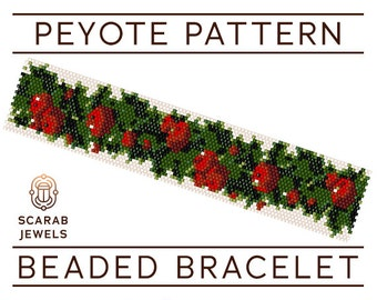 Christmas Garland Pattern | Peyote Beading Bracelet | Cuff Bead Pattern | Miyuki Delica | PDF Instant Download