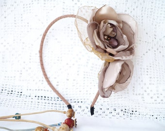 Beige Flower Headband, Taupe Beig flowers, Light Brown hair piece, Flower Headband, Statement headband, Beige fascinator, Resort Wear