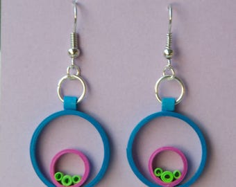 Quilled Paper Art Earrings Blue, Purple and Lime Green Jewelry