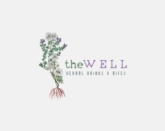 Premade Logo Design//Watercolor Herbal Logo// Natural logo// Organic Logo// Green and Healthy// Tea Logo