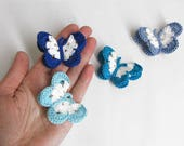 "Butterfly Appliques, 2"" wide, 4 pc., blue mix"