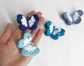 """Butterfly Appliques, 2"""" wide, 4 pc., blue mix"""