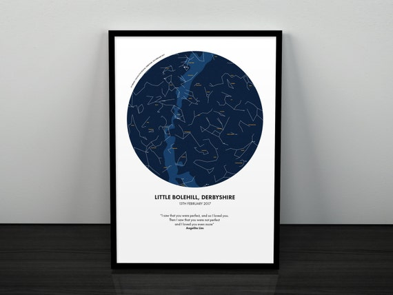 Personalised Map Of The Stars Star Chart Print Perfect Gift For Weddings Birthdays Births