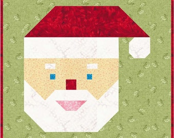 "Christmas Santa Quilt Block Pattern, PDF, Instant Download, modern patchwork, 12"" quilt block"