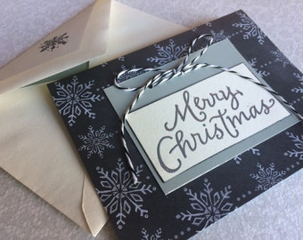 Merry Christmas card, handmade embossed Christmas card