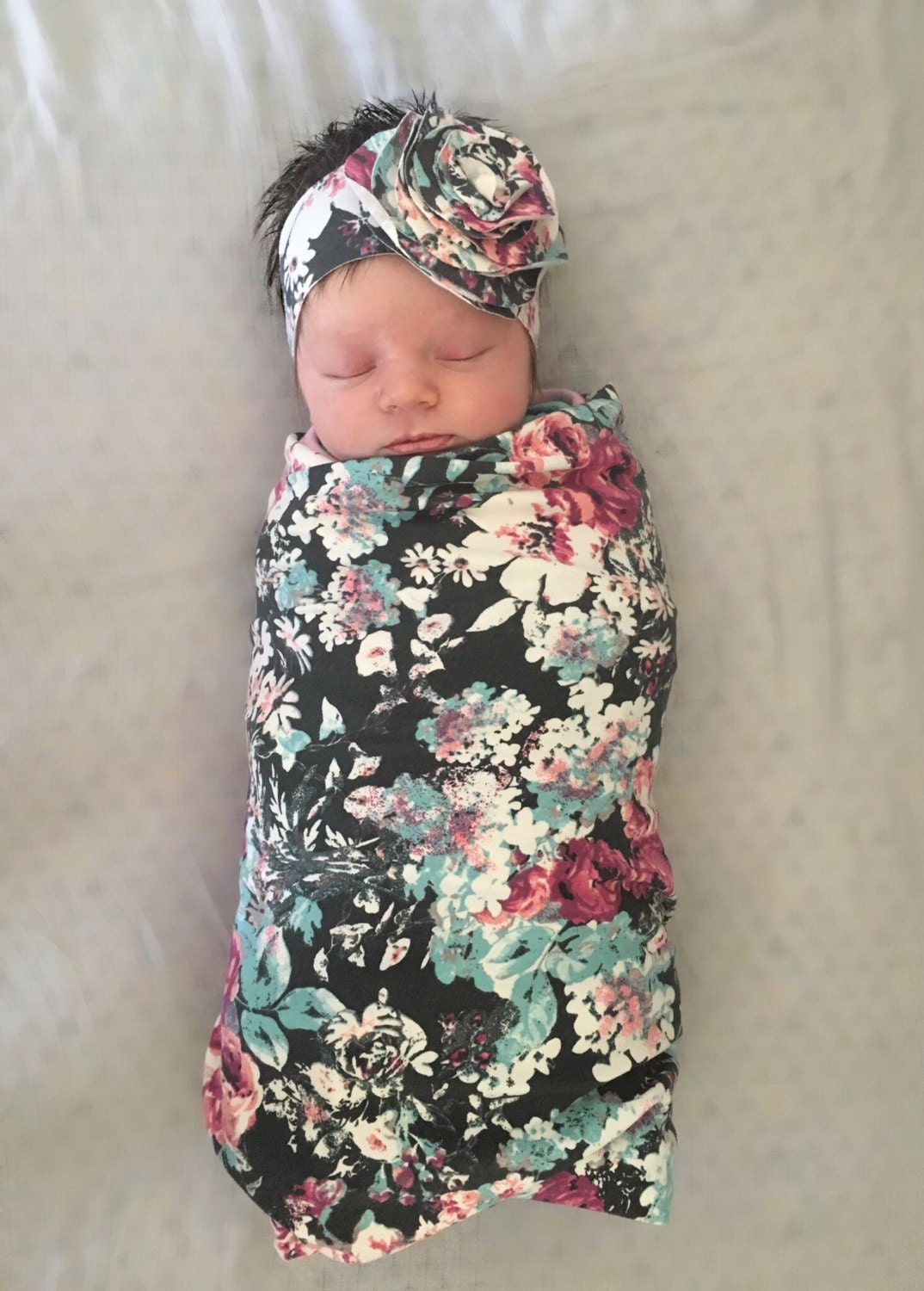 Gift Set Floral Headband And Swaddle Blanket Photography Prop