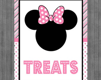ON SALE!!  Mouse Birthday Sign, Treat Sign, Pink