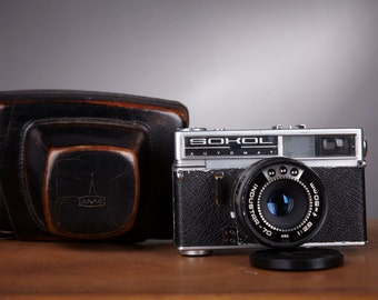 Vintage Camera Sokol Automat. Camera Sokol. With original leather case.Rangefinder Film Camera. Working Old Camera.