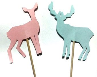 Buck & Doe - Deer - Cupcake Toppers - Die Cut - Set of 12 - Select a Color - food Picks, Party Decor, Gender reveal, Hunting Theme