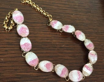 Pink Givre Glass BookChain Necklace, Vintage Jewelry SALE