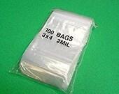 100 CLEAR POLY Bags ~ 3 in x 4 in ~ 2 mil ~Zip Lock