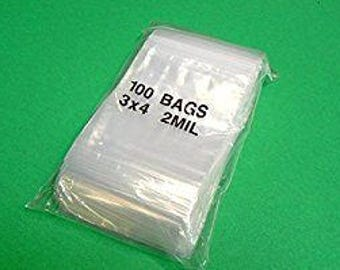 100 CLEAR POLY Bags ~ 3 in x 4 in ~ 2 mil ~Zip Lock