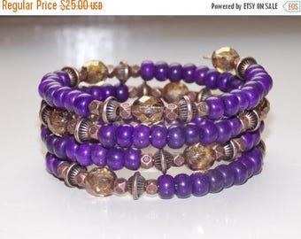 20%OFF Purple Magnesite and Copper Wrap Bracelet