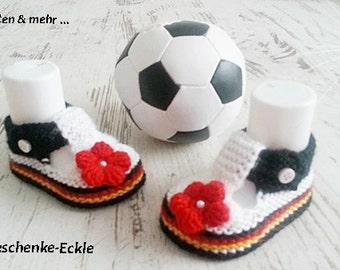 Baby shoes baby shoes baby shoes knit yellow grey hand made football Germany
