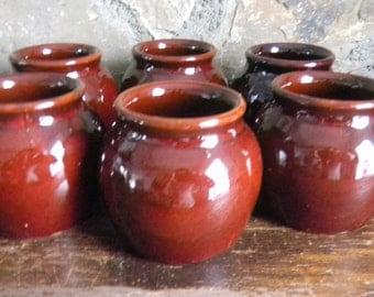 Brown Glazed Pottery, Brown Glazed Crocks, Brown Glazed Jars, Brown Glazed Pots, Pottery Bean Pots, Set of 6 Pots, Midcentury Kitchen