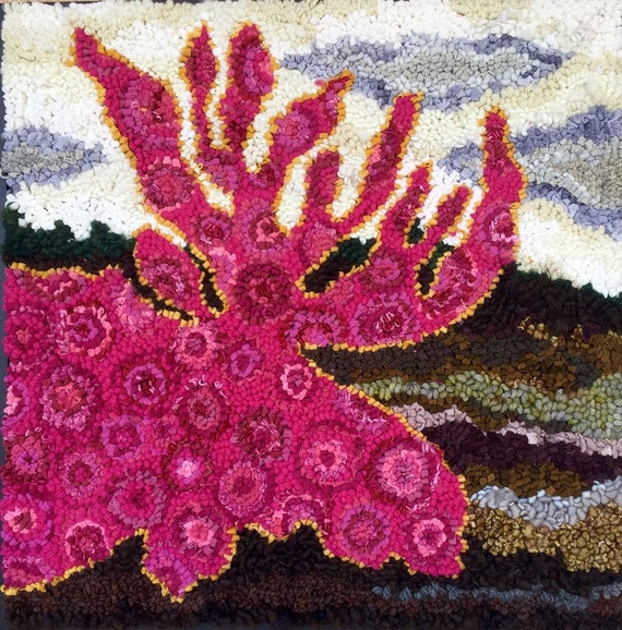 LIMITED EDITION PATTERN- Hot Pink Moose Rug Hooking