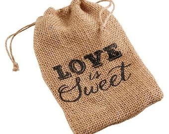 "Burlap Bag - ""Love is Sweet"""
