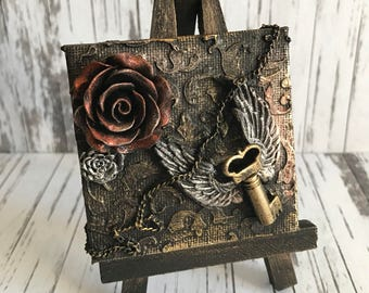 Gothic Vintage Winged Key and Rose Mixed Media miniature canvas