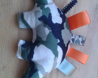 Camouflage Dinosaur Taggie Toy - Ready to Ship