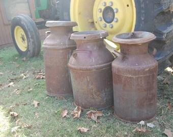 Choice Antique Metal Milk Can, Cream Can, Small Metal Cream Can, Yard Decor, Farm House Decor