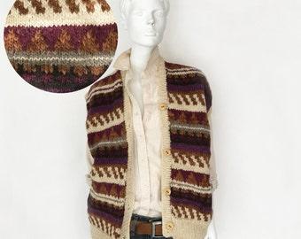 The Faire Isle Farmer Texas Vintage 70s Sweater Vest Cardigan Chunky Handknit Wool Geo Stripe Patterned Novelty Oversized Oatmeal O/S
