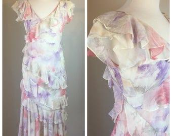 Vintage 70's Does 1920's Fliral Ruffle Flapper dress