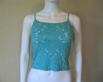 teal semi sheer lace floral camisole cropped tank top