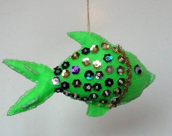Lime green Eco felt fish with sequins and google eyes,