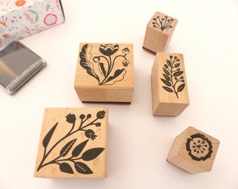 Stamp set romantic of flowers plants nature flowers