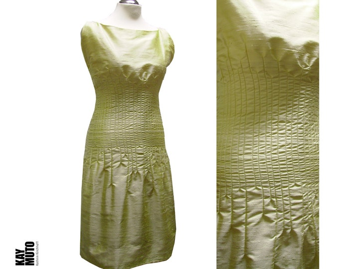 SALE 40% silkdress with handcrafted details unique piece in size small lemonice