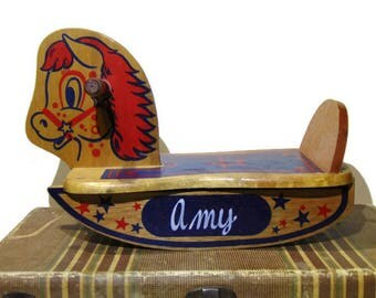 Wood Rocking Horse, Rocking Horse, Amy, Ride On Toy, Wooden Toys, Photo Props, Nursery Decor, Toddler Toys, Wooden Horse, Rocking Toy, 1980s