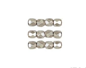 FULL LABRADOR: 3mm Faceted Round Firepolish Czech Glass Beads (50 beads per strand)