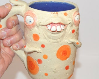 Silly Willy Mug with bum on backside. Aprox. 16 oz stoneware. One of a kind. signed J Cotton