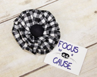 Black and White Plaid Fabric Dog Collar Flower Accessory, Harness Flower by Focus for a Cause Pet Boutique