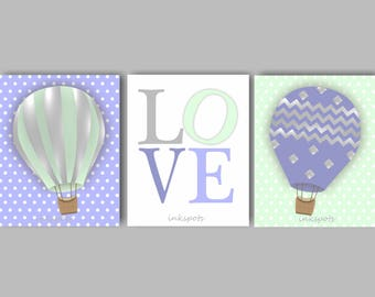 Baby Girl Nursery Art, Balloon Art, Balloon Nursery, Love Wall Art, Hot Air Balloon Art, Love Print, Balloon Wall Art, Choose Colors TRAB04