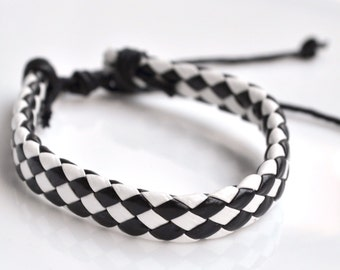 Black&white leather cord bracelet